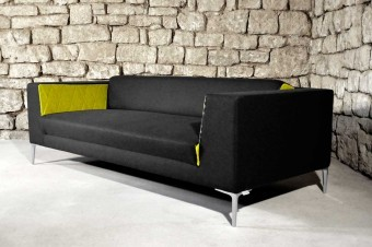 The first sofa as presented during the IMM Cologne in January 2012. The prototype was made by Dirion Raumausstattung.
