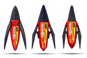 Three final designs, all having long arms resembling wings on which the dispenser can stand on, in order to prevent spillage.