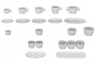 The range: espresso, coffee, cappuccino, latte macchiato and soup cups with saucers and side dish plates.