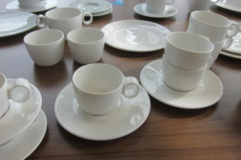 The result: the finished product from the first batch of cups.